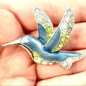 Liz Claiborne Enameled Hummingbird Brooch